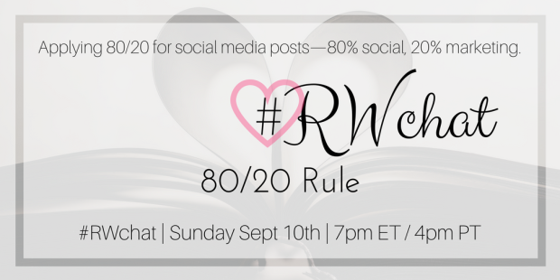 romance writer twitter chat 80 20 rule