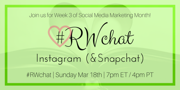 romance writers chat topic march 18th instagram and snapchat
